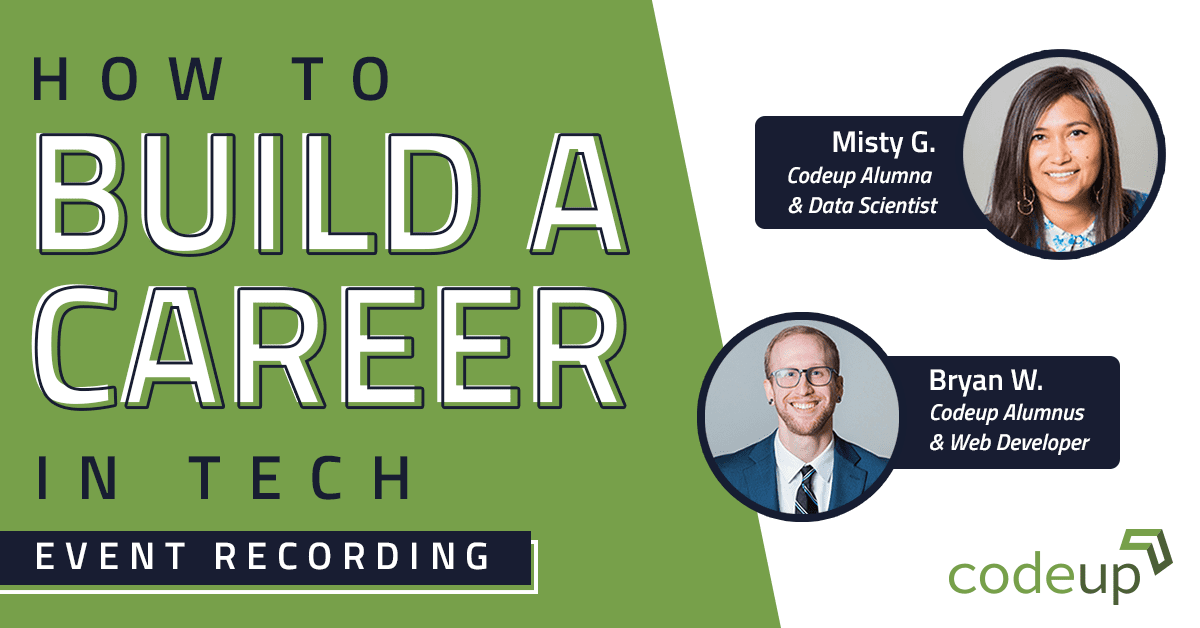 Codeup alumni Bryan Walsh and Misty Garcia share advice on how to build your career in tech. Features quotes and recordings from the virtual event.