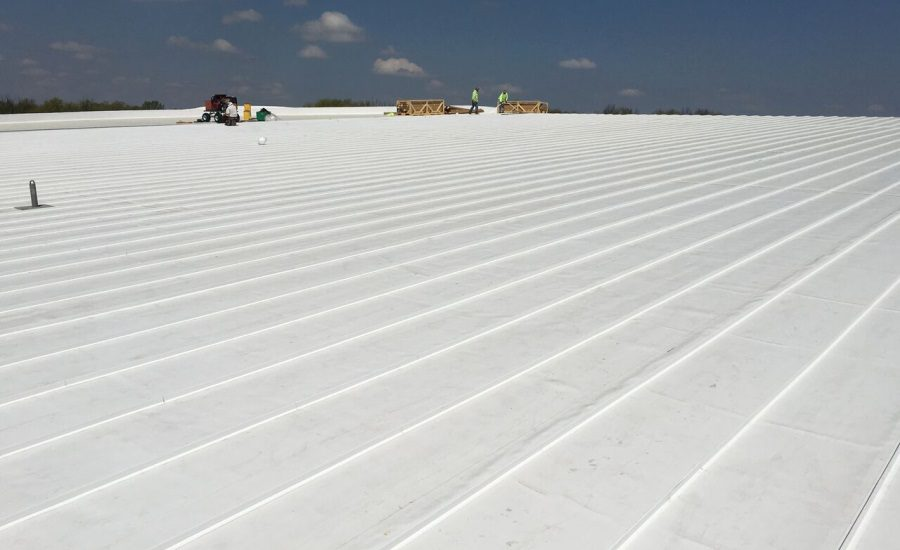 A TPO roof on a San Antonio commercial roofing system