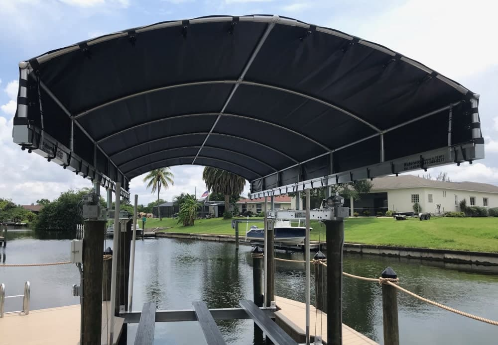 Radius beam boat lift covers