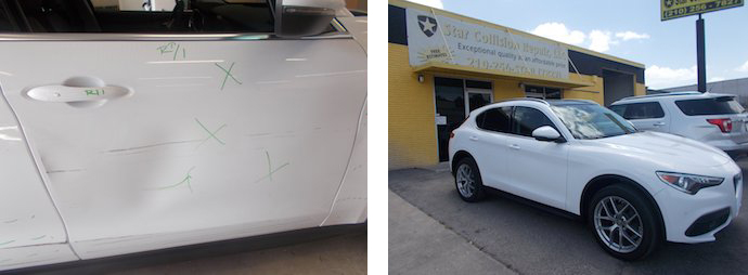 before and after results, white suv | Star Collision Repair Auto Shop San Antonio