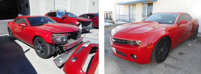 before and after, red sports car | Star Collision Repair Auto Shop San Antonio