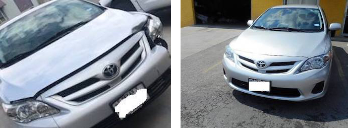 before and after repair, silver car | Star Collision Repair Auto Shop San Antonio