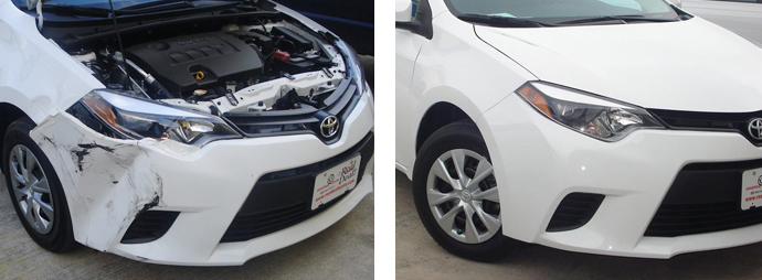 before and after repair, white car | Star Collision Repair Auto Shop San Antonio