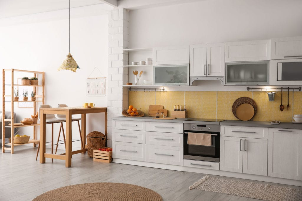 white and yellow kitchen remodel