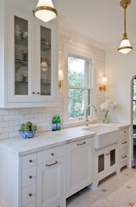 Giese Kitchen Renovation with farm style sink, kitchen window, marble counter tops
