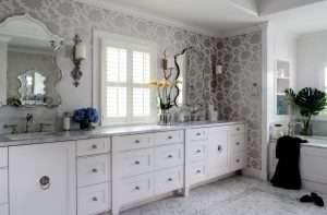 Hagee Bathroom Renovation with floral wall paper, double vanity on marble counter