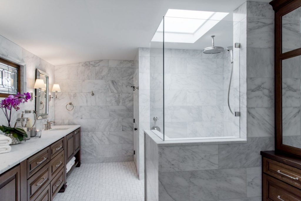 Hall bathroom Renovation with walk in shower, water fall shower head, and vanity