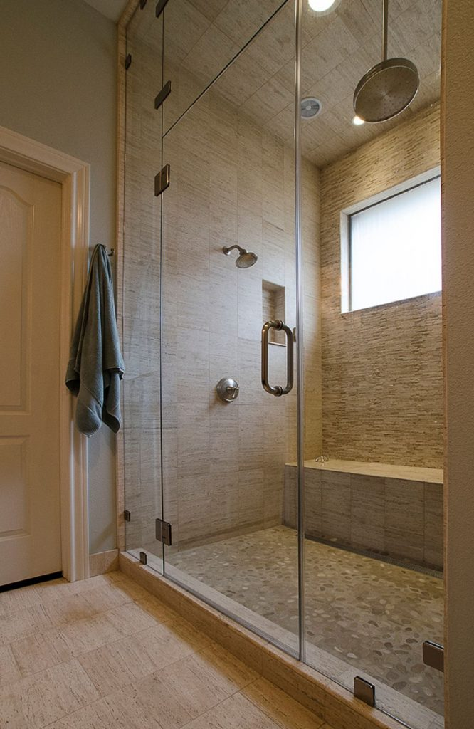 Pierce Bathroom Renovation with walk in shower and stone back splash
