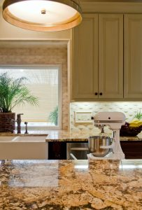 Sedio Kitchen Renovation with patten backsplash and large farm house sink