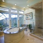 Spigel bathroom renovation with large free standing bath tub and walk in shower