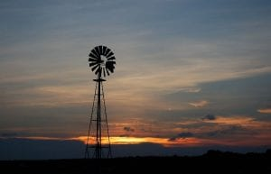 windmill and texas sunset
