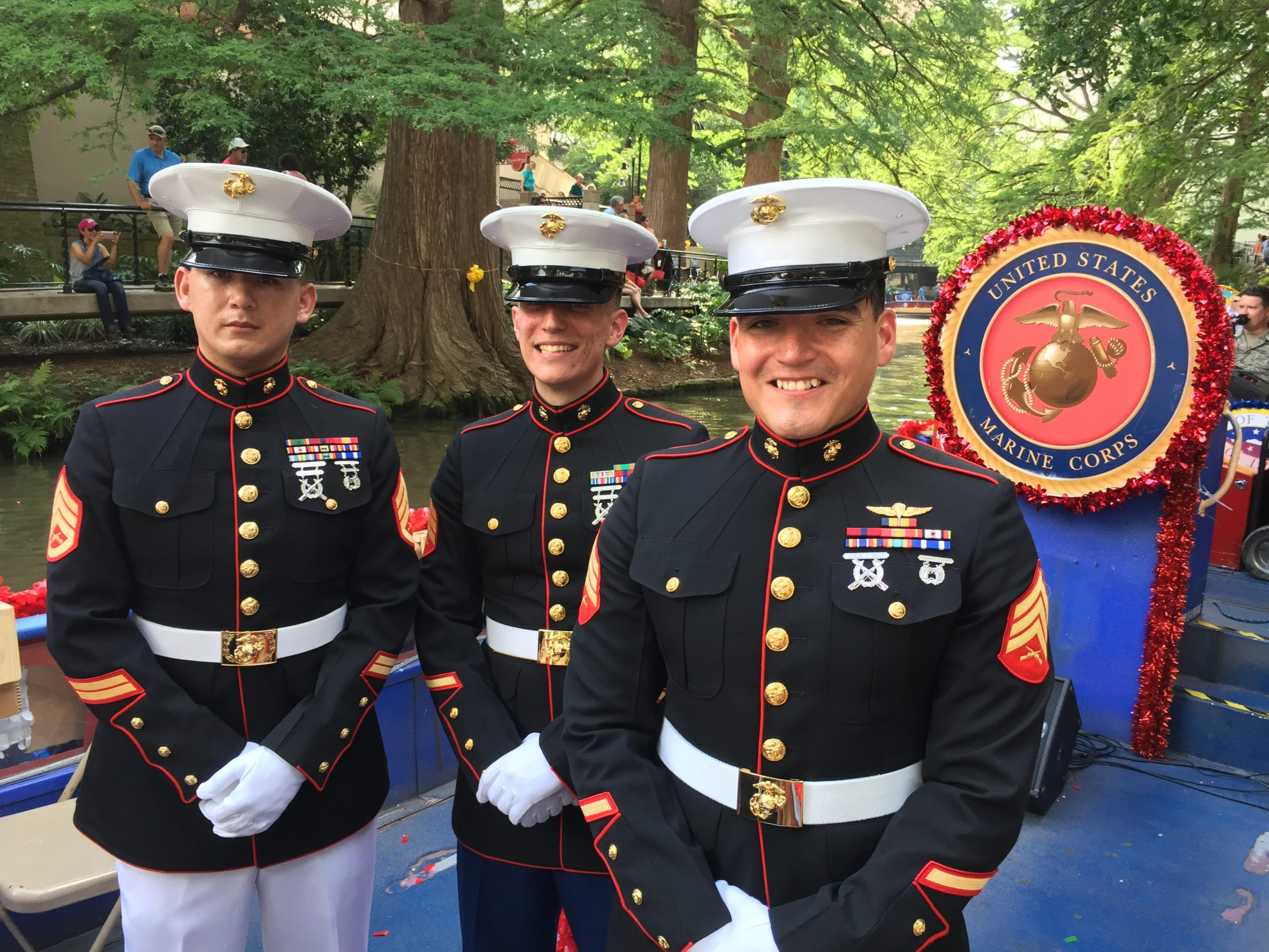 Marines on a river float