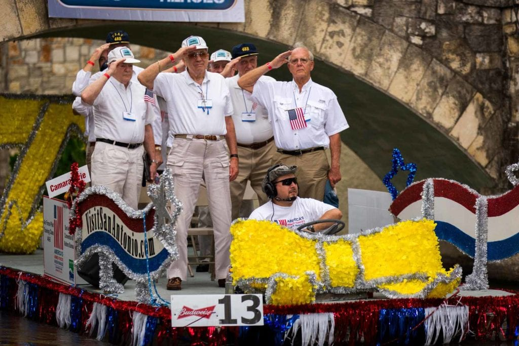 Float with veterans at the Armed Forces River Parade
