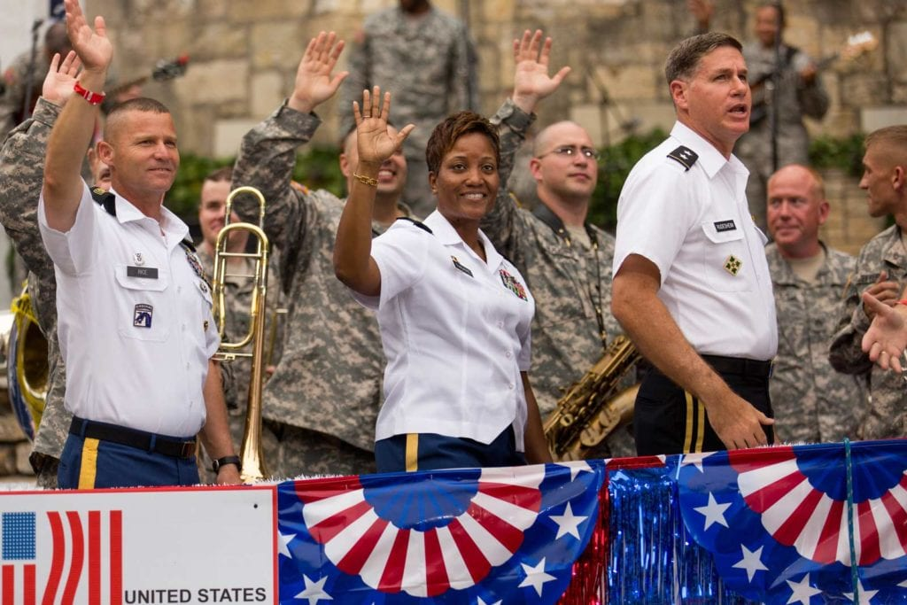 Float with servicemen at the Armed Forces River Parade