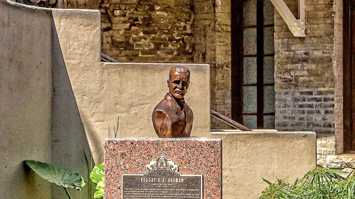 Bust of Robert H. H. Hugman on the River Walk