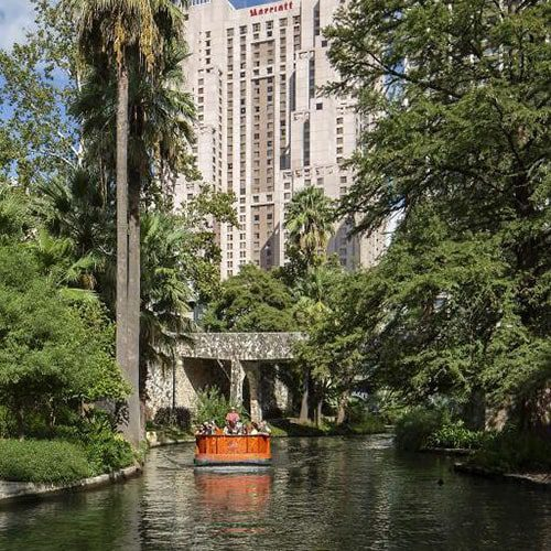 Marriott San Antonio Rivercenter as seen from the River Walk