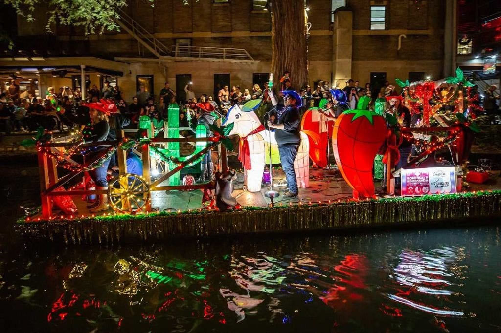 River float with live music in the Ford Holiday River Parade