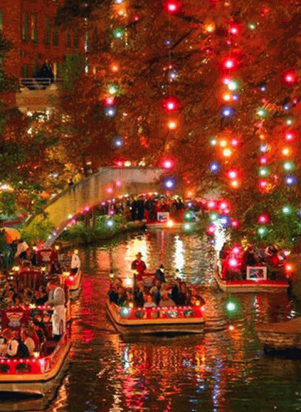 Boats under the holiday lights