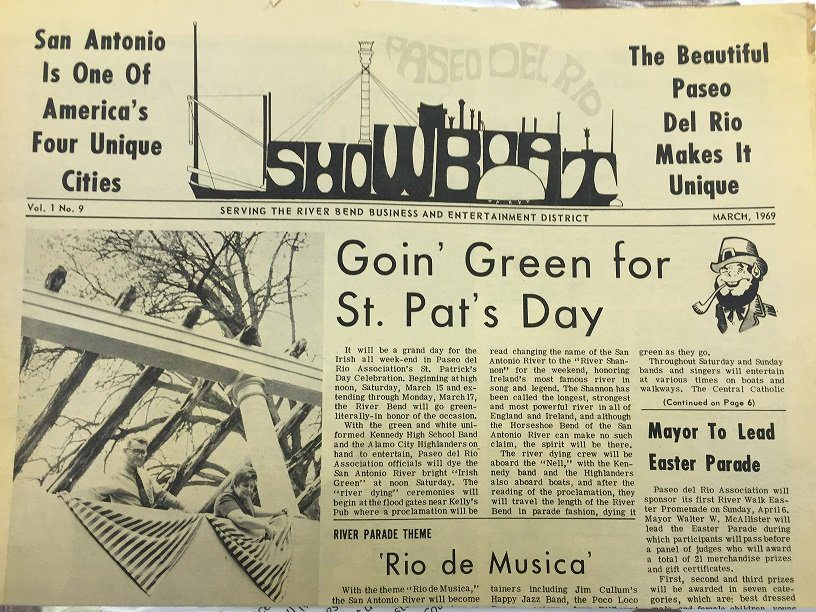 "1969 Showboat newspaper reading ""Goin' Green for St. Pat's Day"""