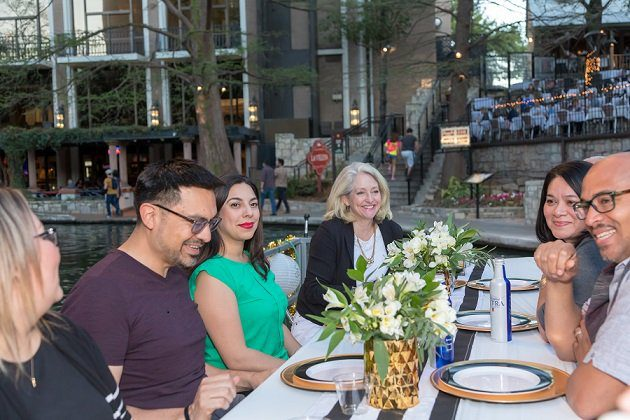 Diners on a river boat at the Drift & Dine event