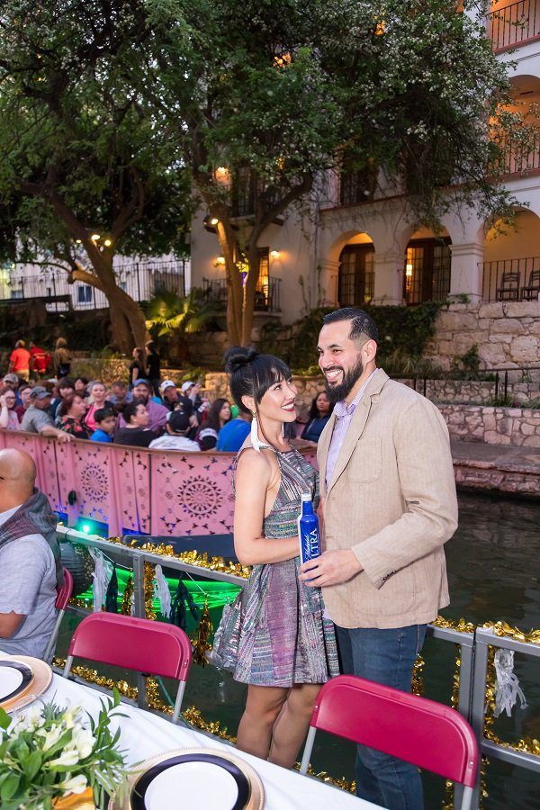 Couple on a river boat at the Drift & Dine event