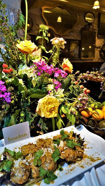 Flowers and food from Boudro's