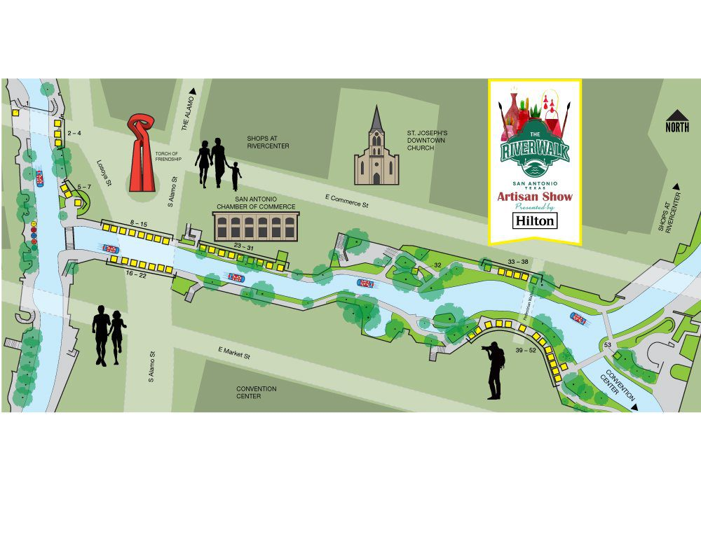 Map of the River Walk Artisan Show presented by Hilton