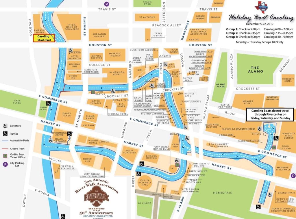 Ford Holiday Boat Caroling map
