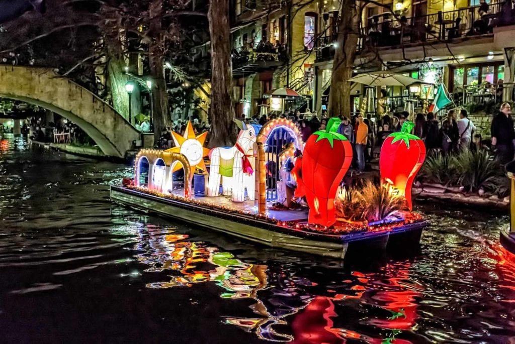 River float with paper lantern sculptures