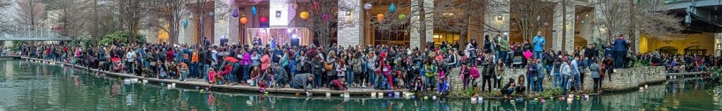 Panoramic shot of crowd at Wishing Lanterns event on the River Walk