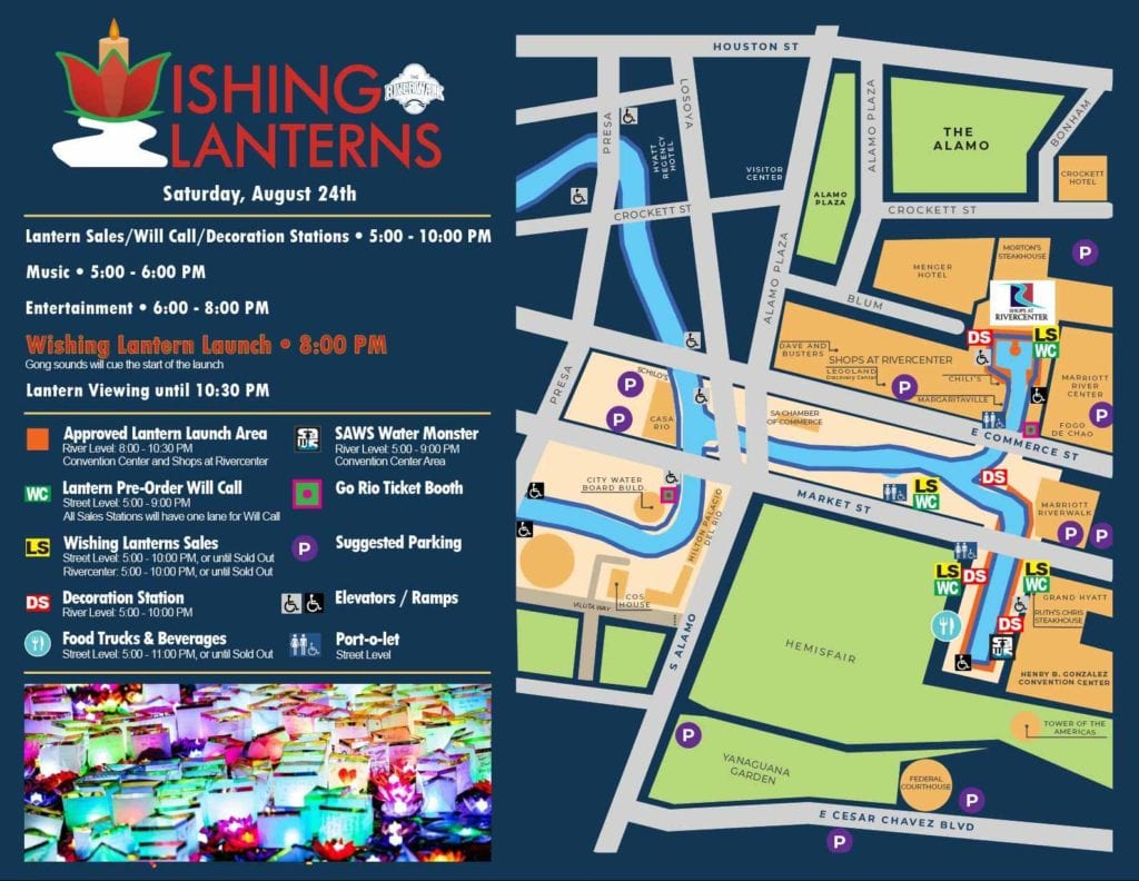 Map of Wishing Lanterns, Saturday August 24th. Lantern Sales/Will Call/Decoration Stations: 5-10pm. Music: 5-6pm. Entertainment: 6-8pm. Wishing Lantern Launch: 8pm. Lantern viewing until 10:30pm.