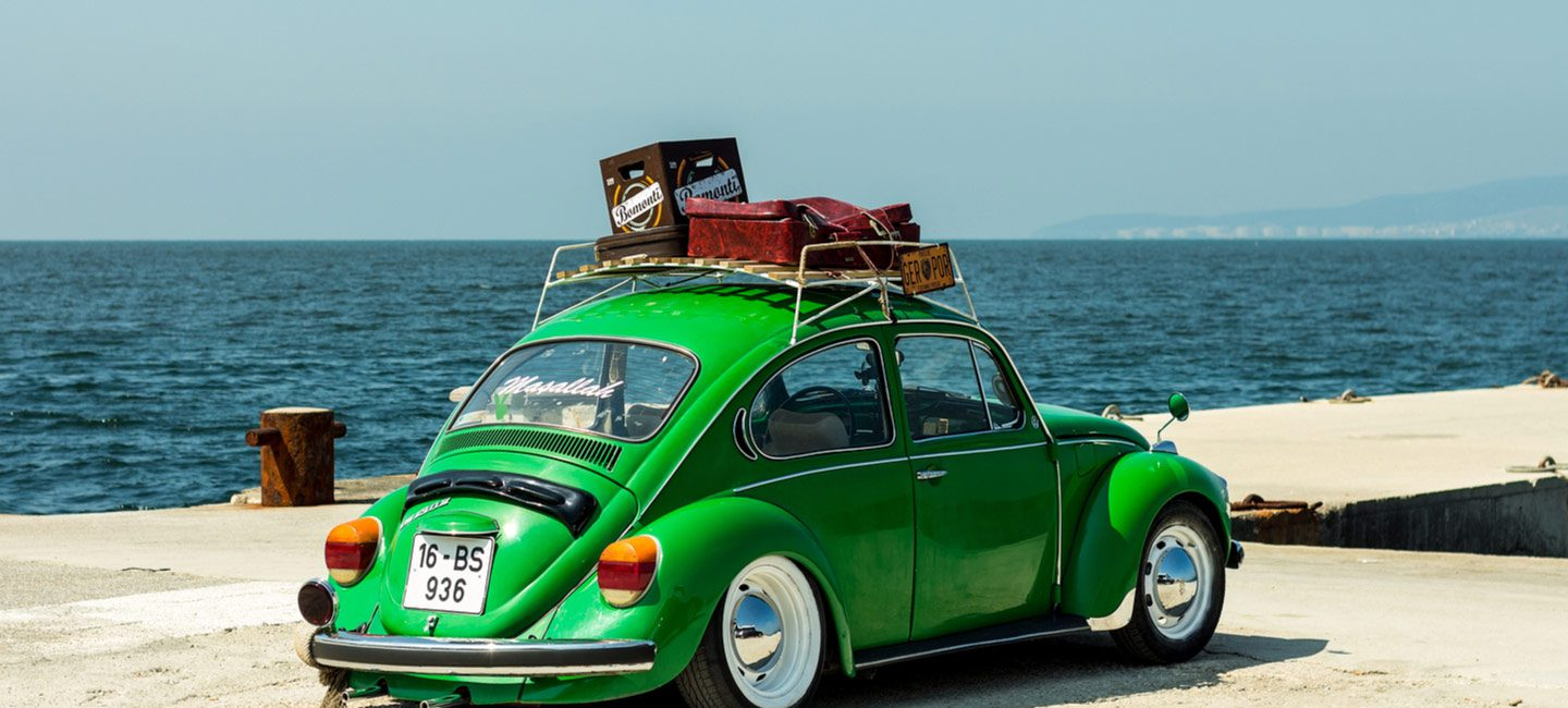 green classic vw beetle ready for summer