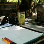 healthy drink outside while working in the shade