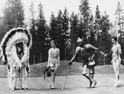 black and white golfing knight and native american with a babe
