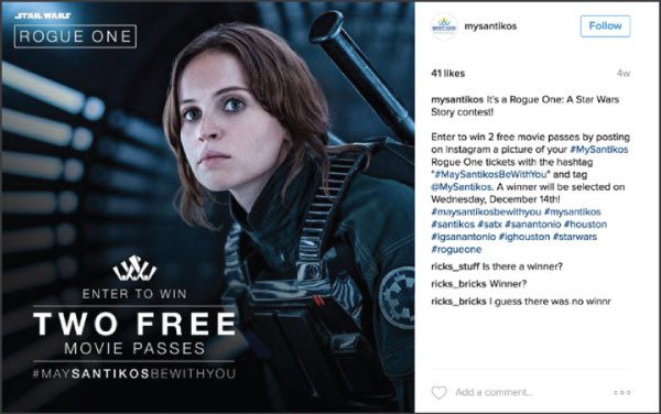 Rogue One Instagram for Santikos Movie Theatres