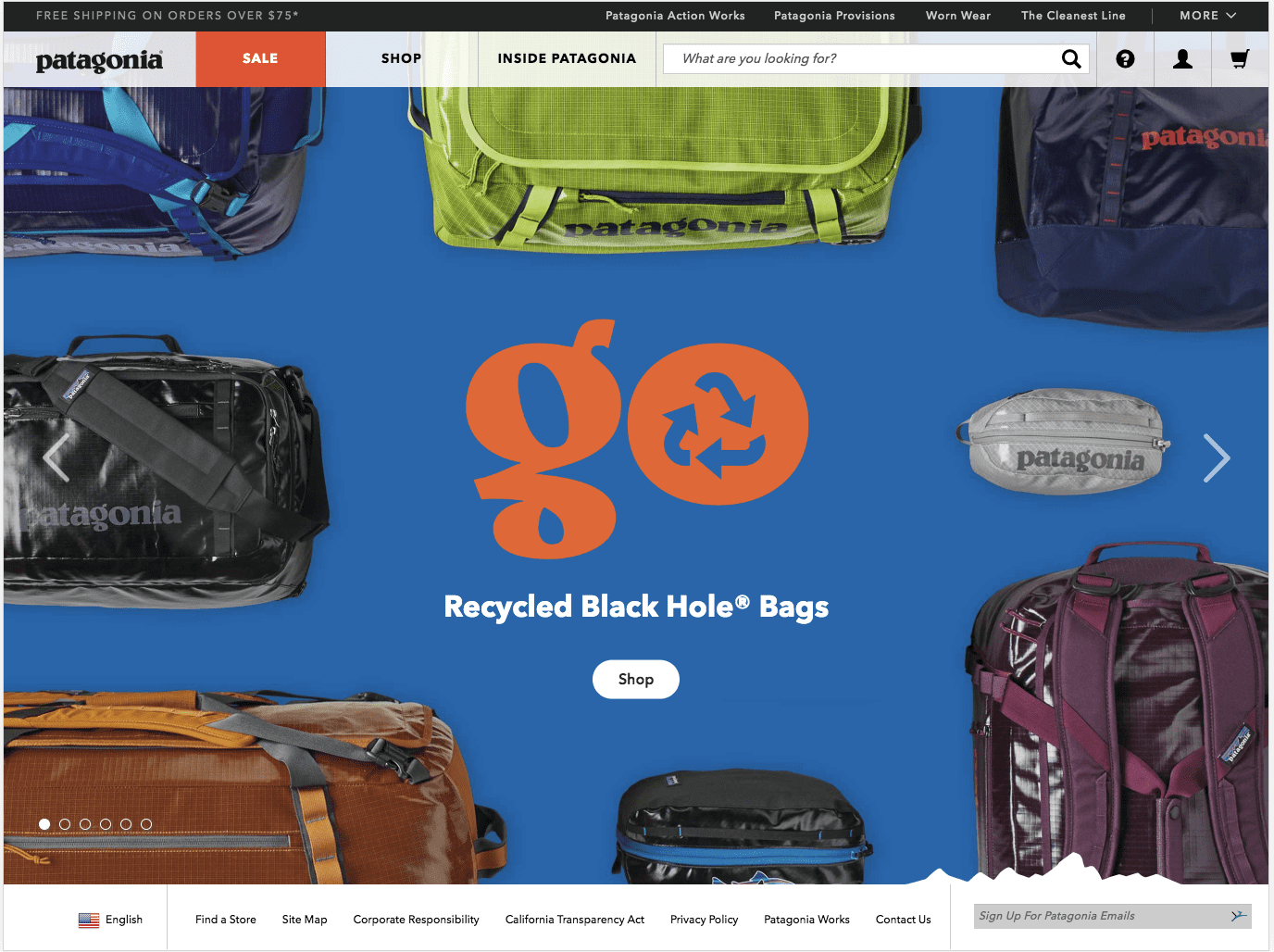 Go Recycled black hole bags. website samples, Tribu insights