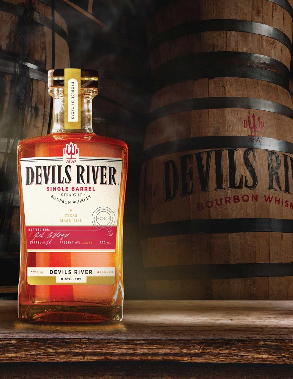 label design for devils river whiskey single barrel